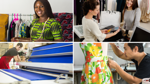 Images of different fashion and textile jobs including a tailor, factory worker and shop assistant.
