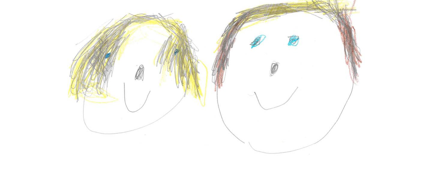 Childrens drawing of Abigail and Lilly, drawn by Lilly.